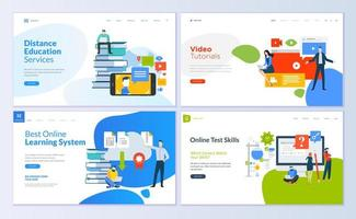 Set of web page design templates for distance education vector