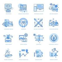 Set of flat line icons of graphic and web design and development vector