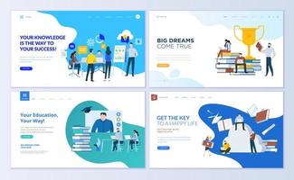 Set of web page design templates for staff education vector