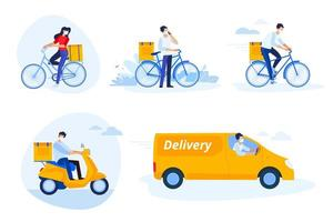 Delivery people set vector