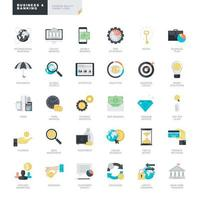 Set of flat design icons for business and banking vector