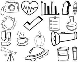 conjunto de elementos y símbolos doodle dibujado a mano vector