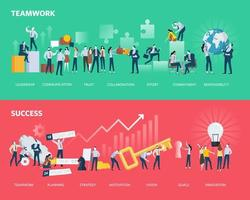 Flat design style web banners of teamwork and success vector