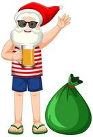 Santa Claus cartoon character in summer costume with big present bag vector