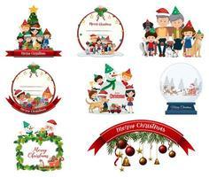 Conjunto de postal navideña en blanco y logo aislado