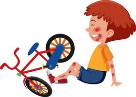 Boy injured at head and arm from riding bicycle vector