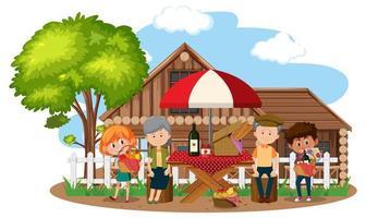 picnic familiar feliz frente a la escena de la casa vector