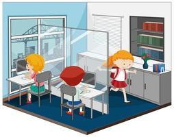 niños en la sala de computadoras con muebles