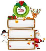 cartel de madera en blanco con el logotipo de fuente feliz navidad con personaje de dibujos animados de navidad sobre fondo blanco