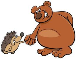 personajes de animales de dibujos animados de oso y erizo vector