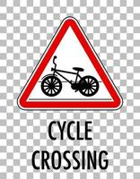 Cycle crossing sign isolated transparent background