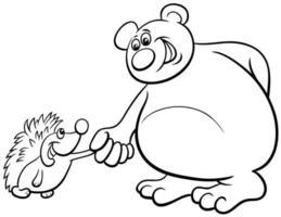 Oso y erizo animales de dibujos animados página de libro para colorear