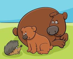 Little bear with mom and hedgehog animal characters