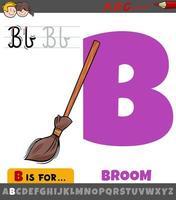 Letra b del alfabeto con objeto de escoba de dibujos animados vector