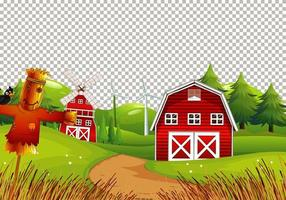Barn in nature farm on transparent background
