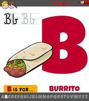 Letra b del alfabeto con burrito de dibujos animados vector