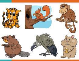 Conjunto de personajes de dibujos animados de animales divertidos vector