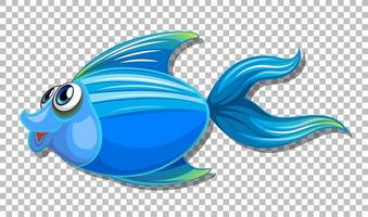 Cute fish with big eyes cartoon character on transparent background vector