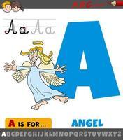 Letra a del alfabeto con personaje de ángel de dibujos animados vector