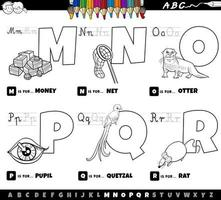 Alphabet letters from M to R coloring book vector