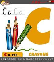 Letra c del alfabeto con personajes de lápices de colores de dibujos animados vector
