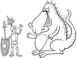 dragón y caballero, caricatura, libro colorear, página vector