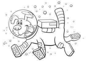 Cartoon dog in space character coloring book page