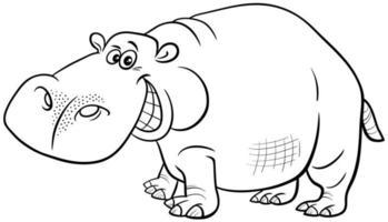 caricatura, hipopótamo, animal, carácter, libro colorear, página