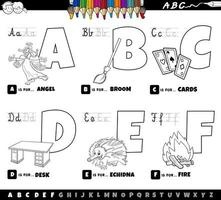 Alphabet letters from A to F coloring book
