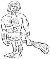 Prehistoric primitive man cartoon coloring book page vector
