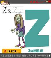 Letra z del alfabeto con personaje de dibujos animados zombie