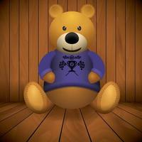 Brown teddy bear on wooden background vector