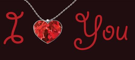 Valentine's Day heart red pendant on black background vector