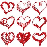 Valentine's hearts sketch set Isolated on white background
