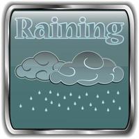 icono de clima nocturno con texto lloviendo vector