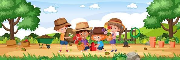 niños en el jardín con elementos de jardinería escena de paisaje horizontal durante el día