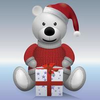White teddy bear with present. vector