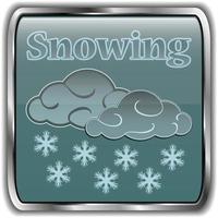 icono de clima nocturno con texto nevando vector