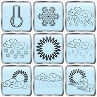 día, clima, color, negro, contorneado, iconos, conjunto vector