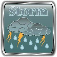 Night weather icon with text storm