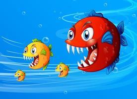 muchos personajes de dibujos animados de peces exóticos en el fondo submarino vector
