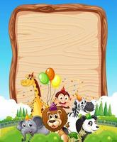 Blank wooden board template with wild animals in party theme on forest background vector