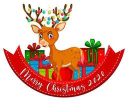 Merry Christmas 2020 font banner with reindeer on white background
