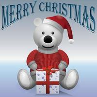 Teddy bear in red sweater with present vector