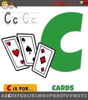 letra c del alfabeto con tarjetas de dibujos animados vector