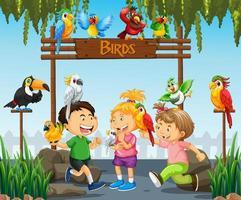Niños jugando con pájaros loro en la escena del zoológico. vector