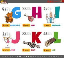 letras del alfabeto para niños de la g a la l vector