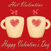 par de tazas de san valentín sobre fondo rojo