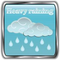 Day weather icon with text heavy raining