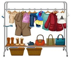 Clothes hanging on clothes rack with accessories on white background vector